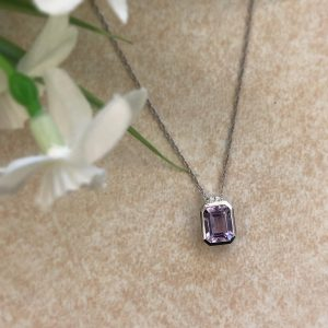 Lavender Amethyst Pendant with Diamonds